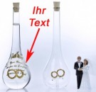 Besondere Glasflasche mit Ringen mit Gravur