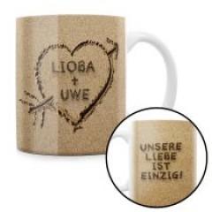 Herz im Sand - personalisierte Tasse