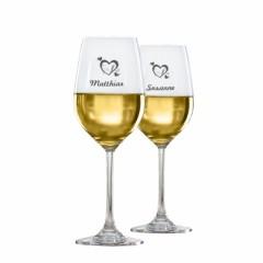 2 Weißweingläser mit Gravur