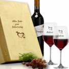 Rotwein Geschenkset in Holzkiste