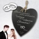 Schiefer-Herz zur Hochzeit mit Gravur