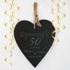 Schieferherz Goldene Hochzeit mit Gravur