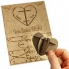 3D Postkarte - Herz aus Holz