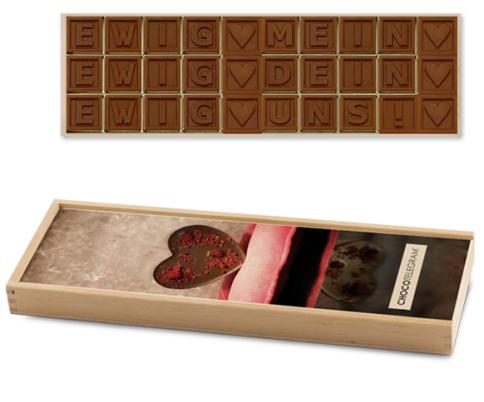 romantisches schokotelegramm als geschenk bei givester. Black Bedroom Furniture Sets. Home Design Ideas