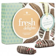 Birnen in Zartbitterschokolade mit Zuckerperlen