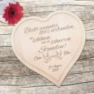 Holzherz zur Hochzeit - mit Liebestauben und Treuespruch