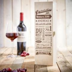 Personalisierte Weinkiste zur Matura - Personalisierbar