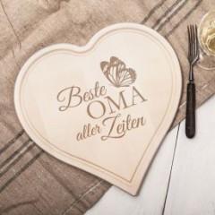 Graviertes Holzherz - Beste Oma aller Zeiten