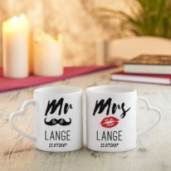 Tassenset mit Herz Henkel - Set Mr and Mrs