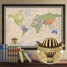 groe Weltkarte für Weltenbummler mit graviertem Heiluftballon