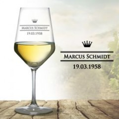 hochwertiges personalisiertes Weinglas (weiß)