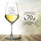 personalisiertes Weinglas zum 70. Geburtstag