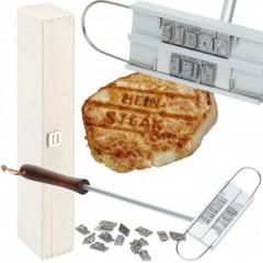 originelles Grillbrandeisen mit gravierter Holzbox