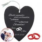 individuelles Schieferherz mit Aufschrift als Hochzeitsgeschenk