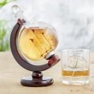 Whisky Globus-Karaffe und Glas mit kompass-Motiv