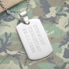 gravierte Army Dog Tag Kette für Männer
