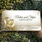 personalisiertes Banner zur Hochzeit mit Ringmotiv