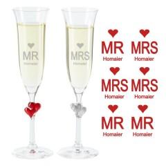 Sektgläser Mrs. and Mr. für Pärchen