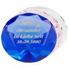 Kristallglas-Diamant mit goldener Gravur