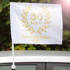 personalisierte Autofahne zur goldenen Hochzeit