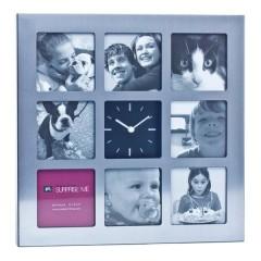 Bilderrahmen für 8 Bilder mit integrierter Uhr