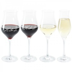 graviertes Glas für Wein- oder Champagner