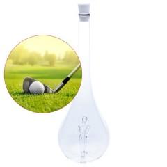 Edelglasflasche mit gläsernem Golfer