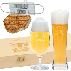 Grill-Geschenkset mit Bierglas und Grillbrandeisen