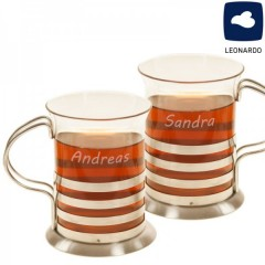 graviertes Teegläser-Set aus Glas und Edelstahl