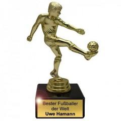 goldener Pokal für einen Fußballfan