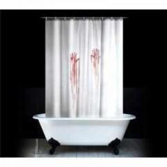 Duschvorhang mit blutigen Handabdrücken