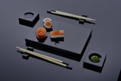 luxuriöses Sushi Geschirr-Set aus schwarzem Gals